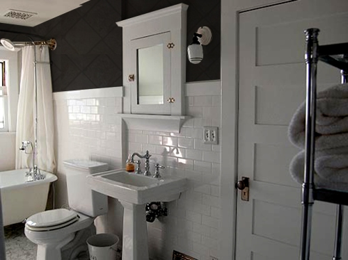 white bath charcoal walls