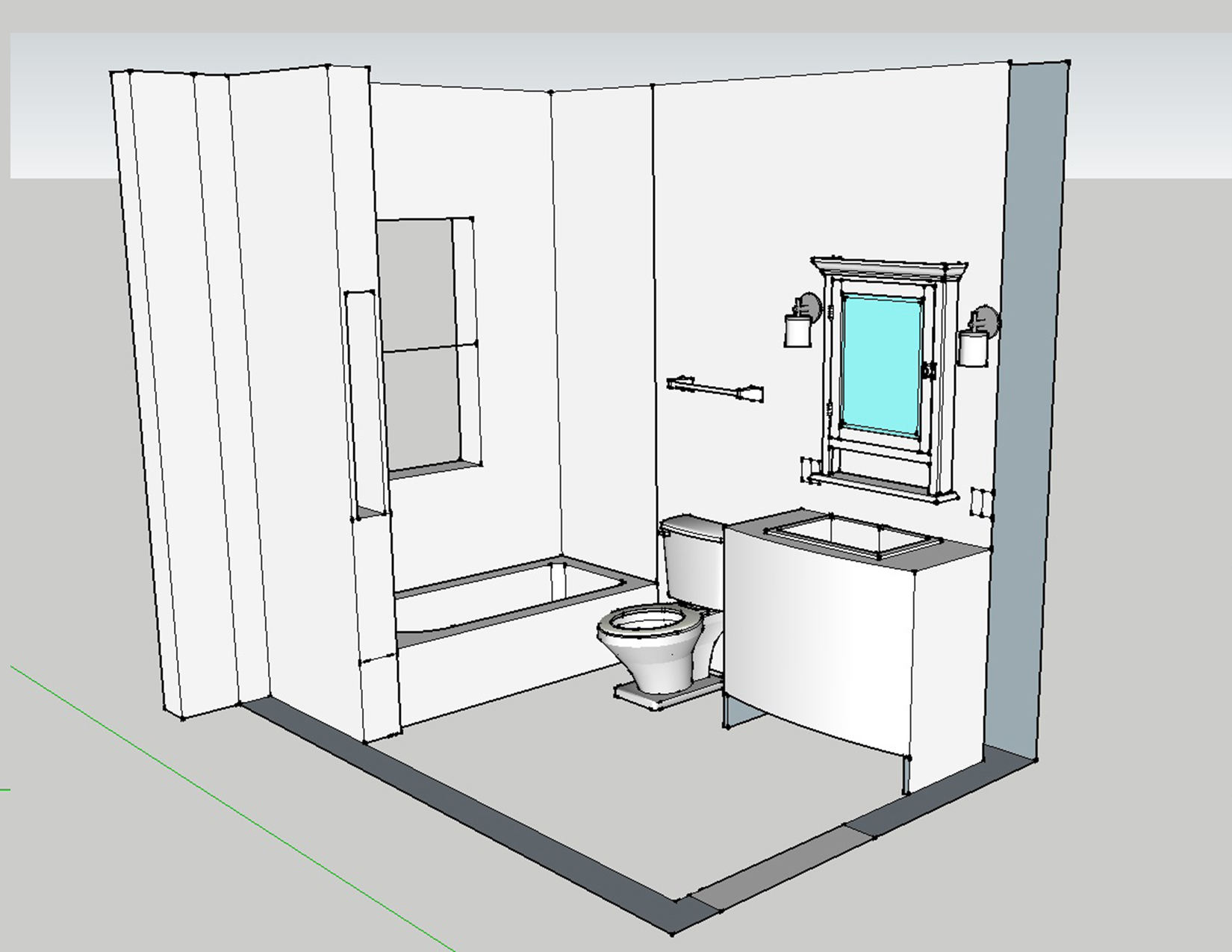 Sketchup up and adam ries for Bathroom designs drawing