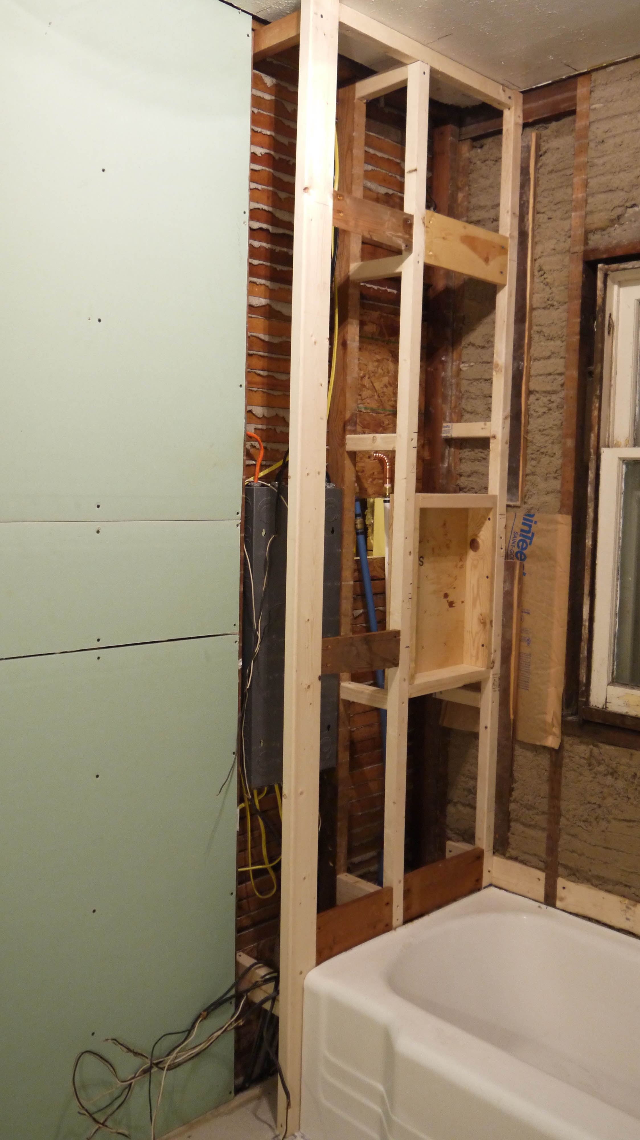 I Added Lots Of Cross Supports Between The Studs And The Wall Behind.  Although It Was Very Strong On Itu0027s Own, This Will Be A Tiled Shower Wall,  ...