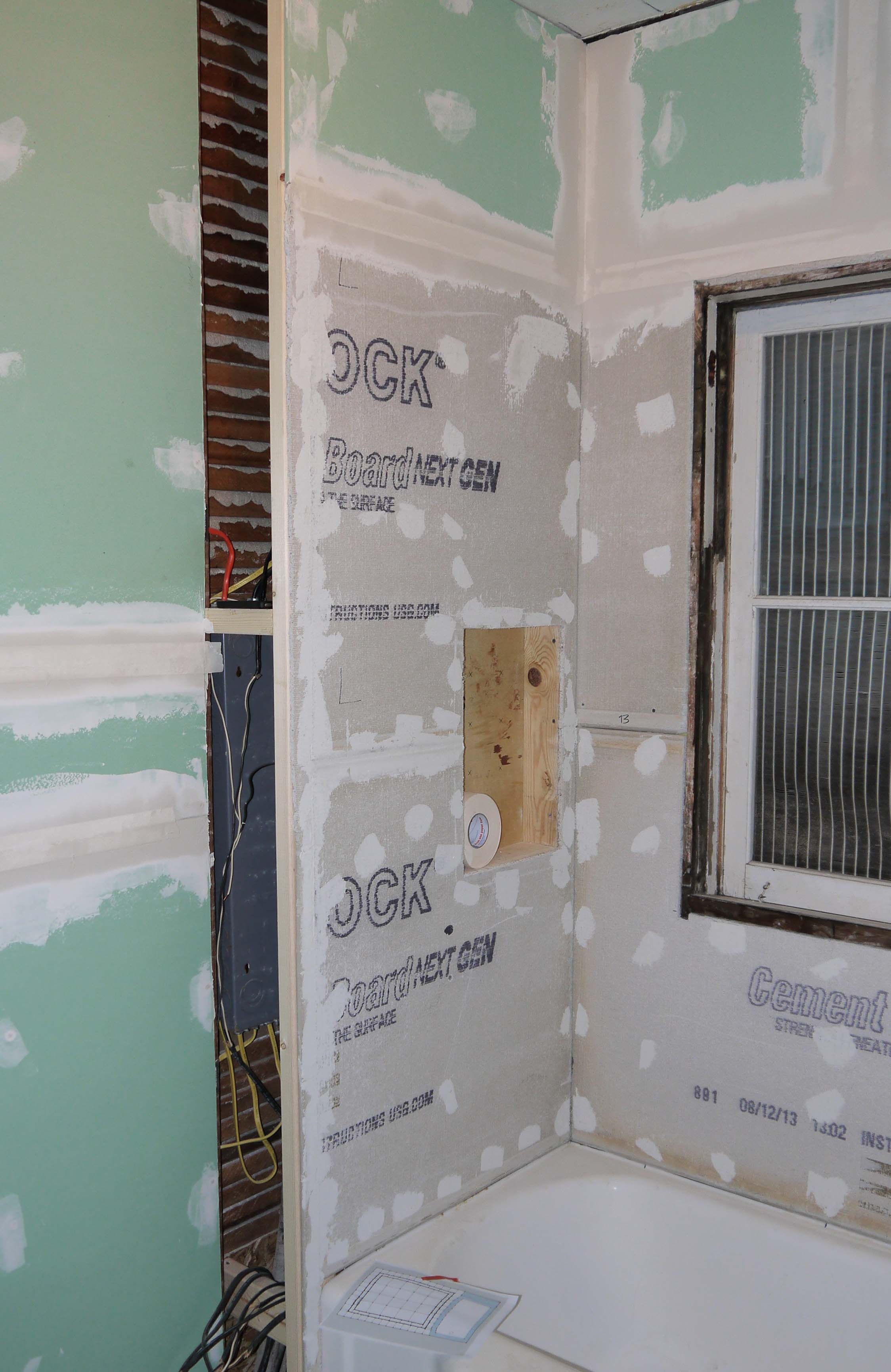 Drywall up and adam ries for Drywall or cement board for shower